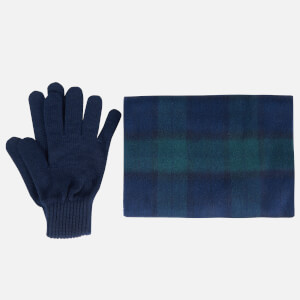 Barbour Men's Tartan Scarf and Gloves Gift Set - Navy Check