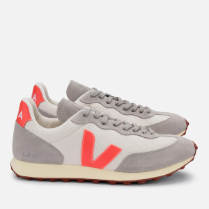 Veja Women's Rio Branco Mesh Running Style Trainers - Gravel/Orange Fluo/Oxford Grey