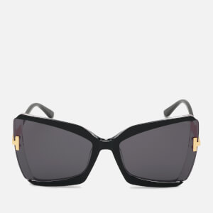 Tom Ford Women's Oversized Square Frame Sunglasses - Black/Crystal/Smoke