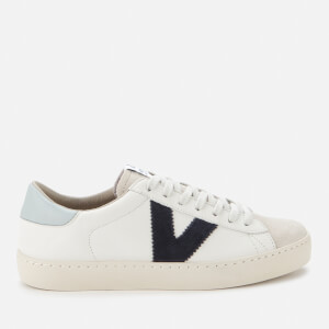 Victoria Women's Sustainable Leather Flatform Trainers - Marino