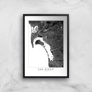 San Diego Dark City Map Giclee Art Print