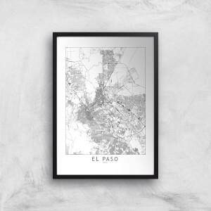 El Paso Light City Map Giclee Art Print