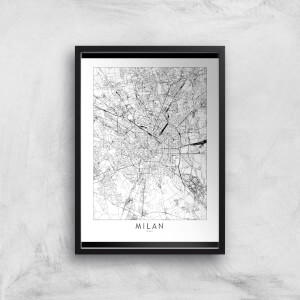 Milan Light City Map Giclee Art Print