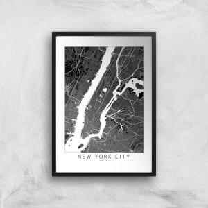 New York City Dark City Map Giclee Art Print