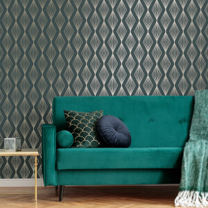Boutique Emerald Marquise Geometric Wallpaper