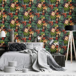 Superfresco Easy Black Exotic Parrot Tropical Wallpaper