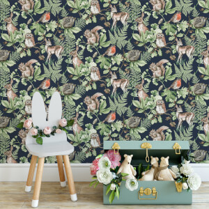 Superfresco Easy Navy Woodland Animals Wallpaper