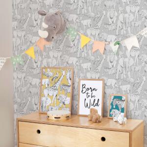 Superfresco Easy Grey Jungle Animals Wallpaper