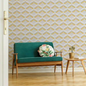 Fresco Retro Ogee Ochre Geometric Wallpaper