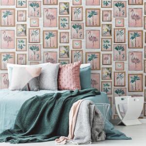Fresco Tropical Frame Multi Colour Floral Wallpaper