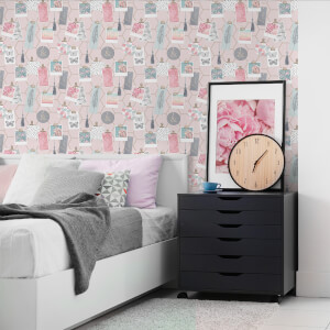 Fresco Pink Clip Frames Wallpaper