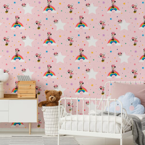 Disney Minnie Mouse Rainbow Multicolour Wallpaper