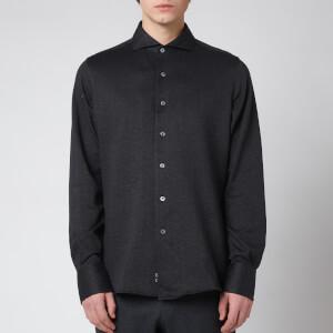 Canali Men's Cotton Herringbone Sports Shirt - Black