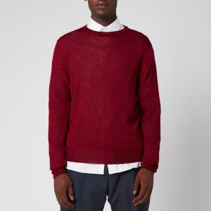 Canali Men's Long Sleeve Crew Neck Jumper - Burgundy