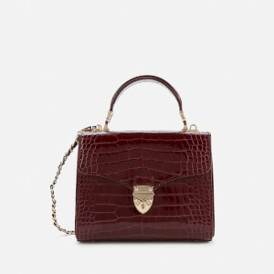 Aspinal of London Women's Mayfair Midi Small Croc Bag - Bordeaux