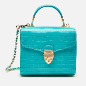 Aspinal of London Women's Mayfair Micro Deep Shine Small Croc Bag - Aqua