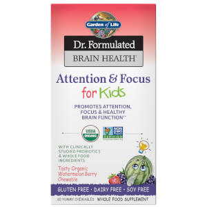 Garden of Life Brain Health Organic Attention/Focus - Kids - 60 Chewables