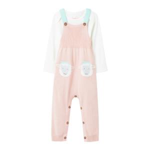 Joules Babies' Marci Dungarees Set - Pink Sheep