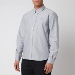 Maison Kitsuné Men's Tricolor Fox Patch Classic Shirt - Grey