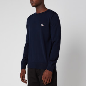 Maison Kitsuné Men's R-Neck Tricolor Fox Patch Jumper - Navy