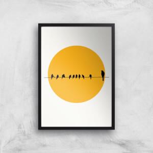 Kubistika Bird Family Giclee Art Print