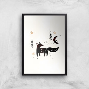 Kubistika Little Winter Fox Giclee Art Print