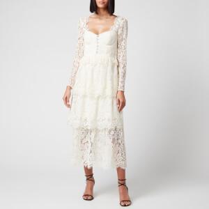 Self Portrait Women's Fine Corded Lace Tiered Midi Dress - Ivory