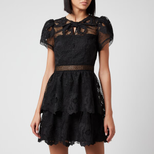 Self Portrait Women's Lace Guipure Tiered Mini Dress - Black