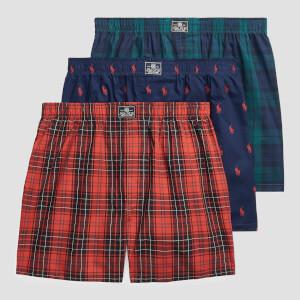 Polo Ralph Lauren Men's 3 Pack Woven Boxer Shorts - Navy/Plaid/Blackwatch