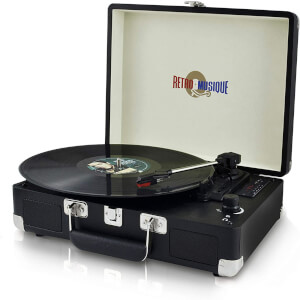 Retro Musique Suitcase LP Player + Radio - Black (UK Plug)