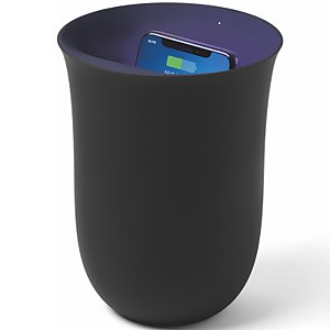 Lexon Oblio Wireless Charging Station and UV Sanitiser - Black