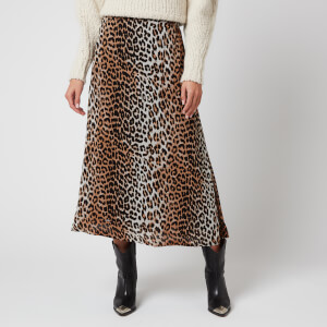 Ganni Women's Printed Georgette Skirt - Leopard