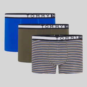 Tommy Hilfiger Men's 3 Pack Trunks - TH Electric Blue/Army Green/Army Green Stripe