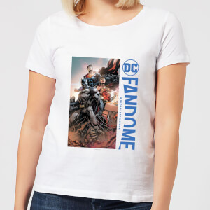 DC Fandome Batman, Wonderwoman, Superman Women's T-Shirt - White