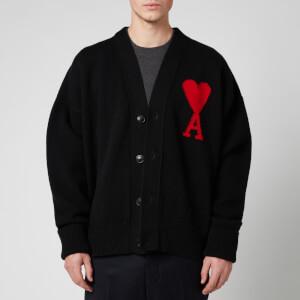 AMI Men's Intarsia Knit Oversized De Coeur Cardigan - Black