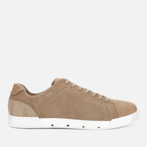 SWIMS Men's Breeze Tennis Leather Trainers - Timber Wolf/White