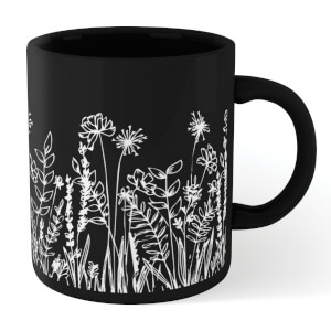 Wild Flower Outline Mug - Black