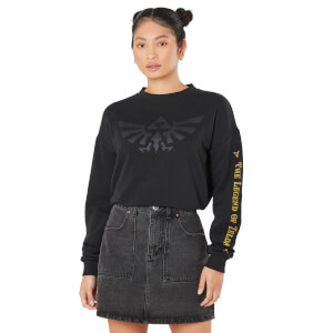 Legend Of Zelda Crest Of Hyrule Women's Cropped Sweatshirt - Black