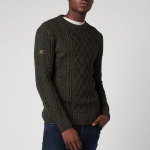 Superdry Men's Jacob Cable Crewneck Jumper - Black Cyprus Twist
