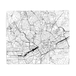 Frankfurt City Map Fleece Blanket