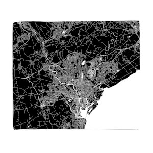 Negative Cardiff City Map Fleece Blanket