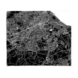 Negative Edinburgh City Map Fleece Blanket