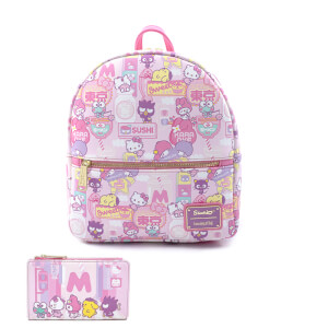 Loungefly Sanrio Hello Kitty Kawaii Aop Convertible Mini Backpack and Wallet Set