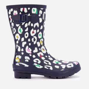 Joules Women's Molly Mid Height Printed Wellies - Navy Leopard