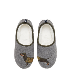 Joules Women's Slippet Felt Mule Applique Slippers - Grey Dachshund