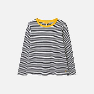 Joules Women's Selma Contrast Trim Crew Top - Navy Stripe