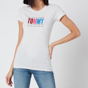 Tommy Jeans Women's TJW Multi Colour Logo T-Shirt - Silver Grey HTR