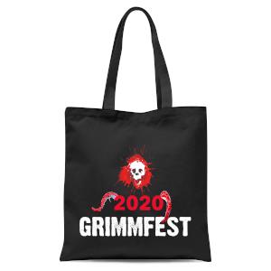 Grimmfest 2020 Pink Skull Tote Bag - Black