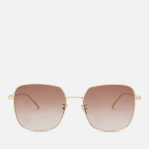Bottega Veneta Women's Square Frame Sunglasses - Gold/Brown
