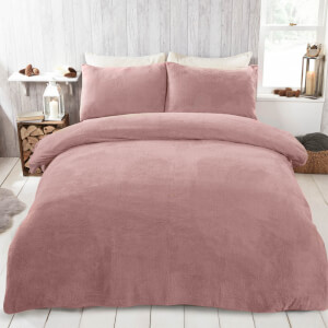 Blush Pink Teddy Duvet Set